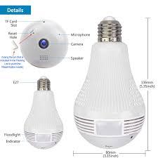 Jidetech Bulb Camera Led Light 1080p Panoramic Home Security Night