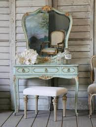 antique vanity table design idea using turquoise paint also completed with cool big mirror mounted for vintage bedroom themed feat reclaimed wood wall idea