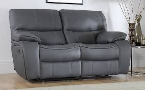 beaumont grey leather 2 seater recliner