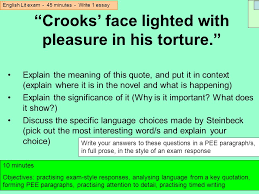 english lit exam minutes write essay ppt video online crooks face lighted pleasure in his torture