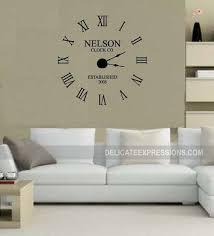 large wall clock decal w working clock