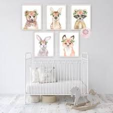 4 Woodland Boho Animals Wall Art Print <b>Bunny Fox</b> Bear Raccoon ...