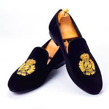 <b>Harpelunde Men Dress</b> Shoes Handmade Bullion Black Velvet ...