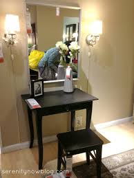 Small Vanities For Bedrooms Fabulous Dark Wooden Small Ikea Vanity Desk With Stool As Well As
