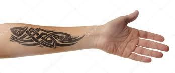 Abstraktní Tetování Na Mužské Předloktí Stock Fotografie