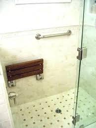 wall mount stool mounted shower bench folding teak with slats