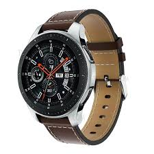22mm genuine leather watch strap replacement with white stitching for samsung galaxy watch 46mm coffee