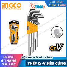 Bộ 9 lục giác đầu bằng đa năng INGCO HHK11091 1.5-10mm siêu cứng chống rỉ  sửa chữa mở ốc vít xe máy ô tô máy móc