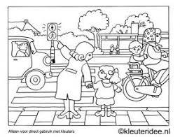 Kleurplaat Oversteken Thema Verkeer Kleuteridee Preschool