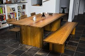 sinker cypress dining table and bench