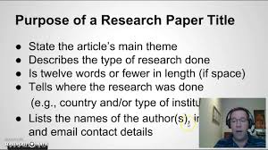 writing a title for your research paper writing a title for your research paper