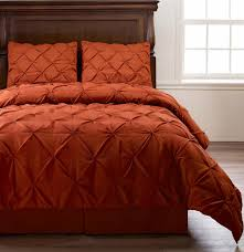 Emerson 4pc Pinched Pleat Comforter Set Orange - Full, Queen, King, Cal-King