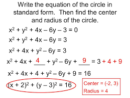 write the equation of the circle in standard form