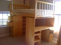 image of full size loft bed plans with desk