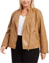 Plus Size Seamed Faux Leather Moto Jacket