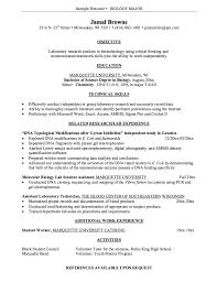 Cv Template Biology Sample Resume Resume Objective