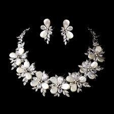 fresh water pearl cz flower bridal cubic zirconia jewelry set