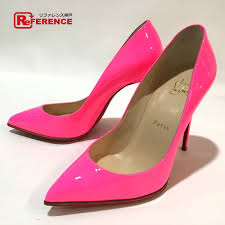 authentic louboutin unused high heels enamel pumps fluorescent pink patent leather printed size 36