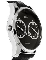 new original guess deuce dual 2 time zone black leather strap men new guess deuce dual 2 time zone mens black strap watch
