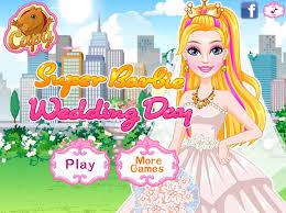 super barbie wedding day dress up game
