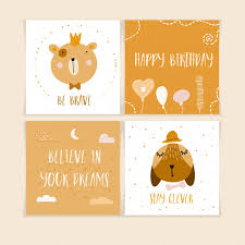 Postcards For Birthday Happy Birthday Postcards With Cute Animals Vector Premium