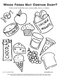 For children, especially toddlers from 1 to 5 years old, it is better to divide the sets of cards over several days, or even make a memory chain or group vegetables images by color, size or other attributes. Dairy Allergy Coloring Page Food Coloring Pages Free Kids Coloring Pages Coloring Pages For Kids