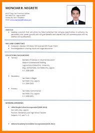 Tagalog Resume Format Resume Template Ideas