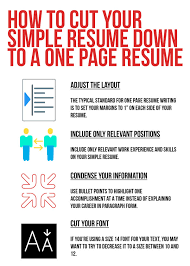 How To Make A One Page Resume One Page Resume Layout Resume Writing Tips For A Simple Resume