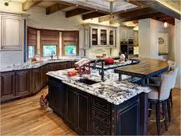 white brown colors kitchen breakfast. Beautiful Breakfast Classic Kitchen Black White Mixed Countertop Rustic Wooden Breakfast Bar  Oil Rubbed Bronze Faucet Metal Undermount Sink Brown Ceiling Beams Round  For Colors N