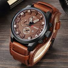 <b>Fashion Curren</b> Mens Date Stainless Steel Leather Analog Quartz ...