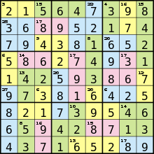 Killer Sudoku Combinations Chart Killer Sudoku Wikipedia