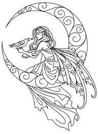 Coloring Page World Lunar Fae Portrait