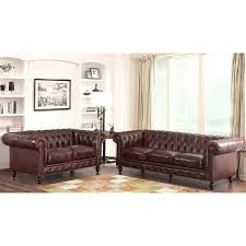 abbyson leather sofa and loveseat set in brown
