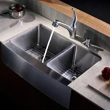 kraus khf203 33 33 farmhouse 70 30 double bowl 16 gauge stainless steel