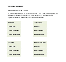 Job Transition Plan Template Suitable Role 6 Sample Example Format ...