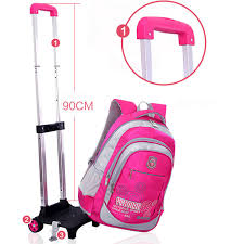 removable children trolley bag backpack with wheels kids trolley backpack rolling high students book bag wheeled in bags from luge