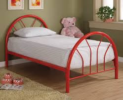 Red Metal Twin Bed Frame With Regard To Twin Iron Bed Frame