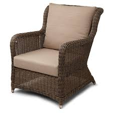 furniture brown arm chair and back chair with cream cuhsion