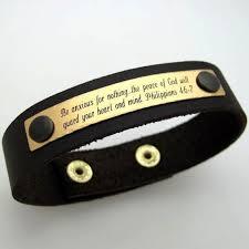 details about mens personalized leather bracelet religious bracelet philippians 4 6 7 for men
