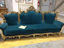 Dark Green Cushion Modern Victorian 4 Seater Sofa With Wooden Frame Painted  With Gold Color Ideas