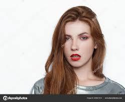Headshot Mladých Krásných Nadšená žena Nádhernou Přírodní Zrzavé