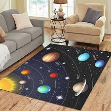 interestprint colorful ling night sky solar system area rug 7 x 5 feet orbits of the
