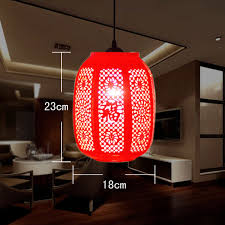 chinese style design restaurant bar coffee bar red lantern ceramic pendant lamp salon light fixtures