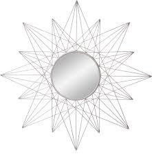 Round metal wall clock boasts a tidy, sleek design that looks elegant on any wall. Amazon Com Patton Wall Decor 36 Silver Round Geometric Sunburst Wall Accent Mirror 1805 3784 Home Kitchen