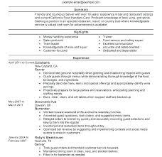 Server Resume Summary