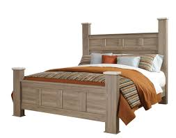 standard furniture stonehill queen poster bed in weathered oak 69400 69402q