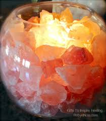 himalayan salt lamp glass bowl lamp with salt crystals