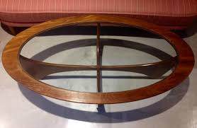 oval astro teak coffee table with glass top by g plan for at