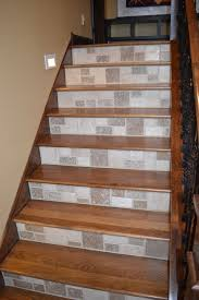 installing wood stairs. Plain Wood Wood Treads And Tile Risers Intended Installing Stairs E