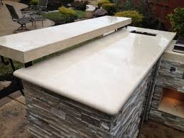 let s zoom in further to inspect this particular bbq island by pro tech especially on the countertop construction the primary rounded edge countertop is